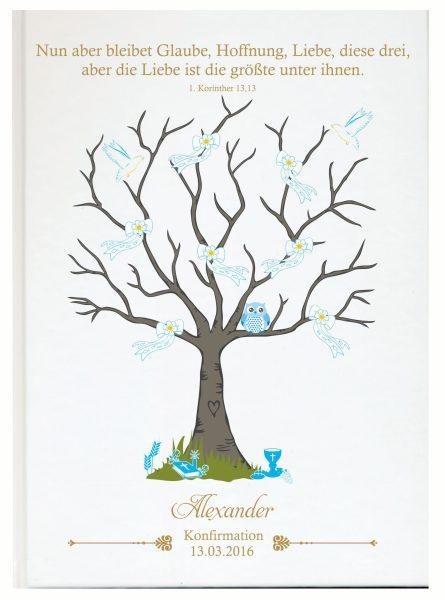 Personalisiertes Gästebuch zur Konfirmation Kommunion blau