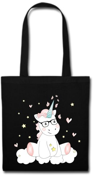 Stofftasche schwarz Einhorn cutie mit Brille