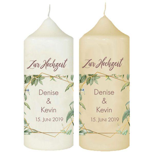 Hochzeitskerze Traukerze mit Namen und Datum Blätter