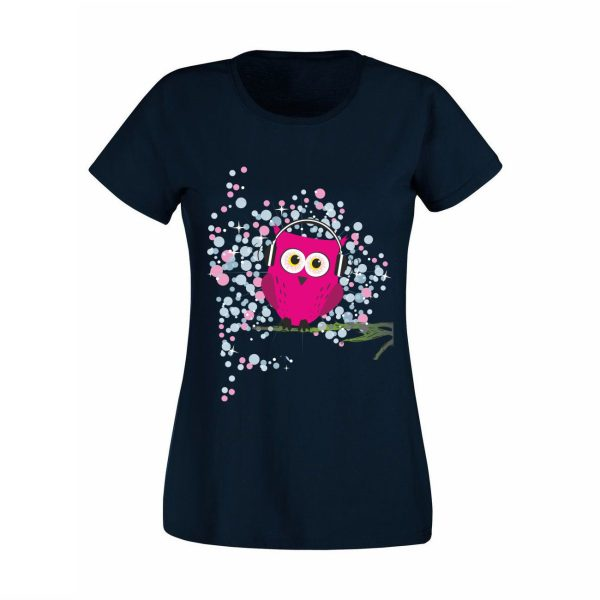 Damen T-Shirt Music Eule