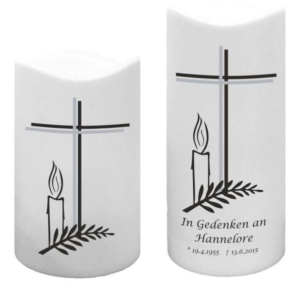 LED Kunststoff Kerze Weiß Trauerkerze Kreuz mit Kerze