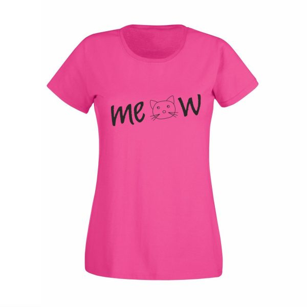 Damen T-Shirt Meow