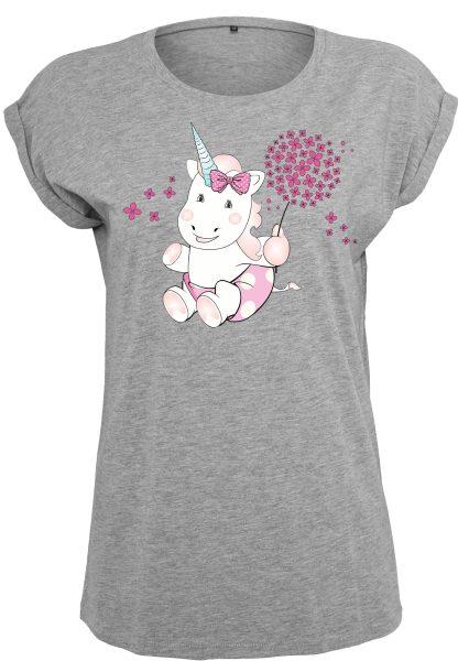 Damen T-Shirt Extended Shoulder Tee Einhorn Cutie Pusteblume