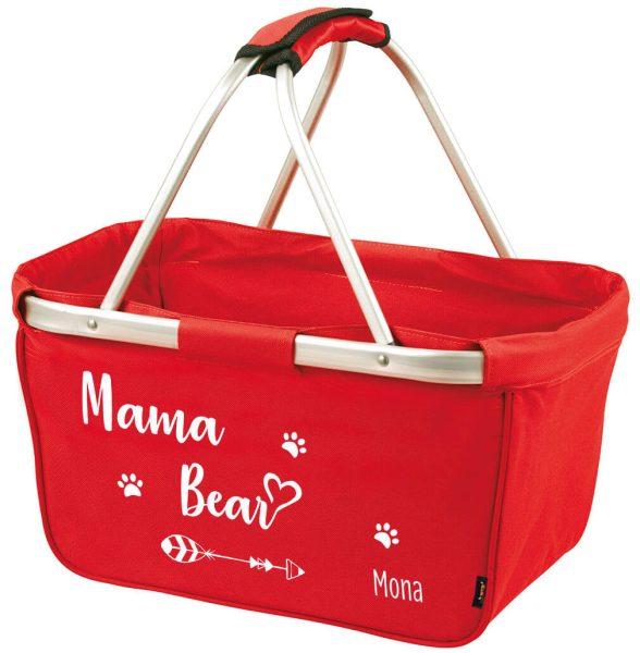 Einkaufskorb Korb mit Name und Mama Bear