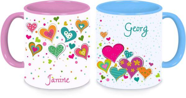 Tassen Twinset in rosa und blau mit Name und Herzchen