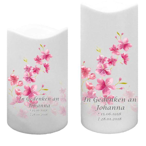 LED Kunststoff Kerze Weiß Trauerkerze Kirschblüten
