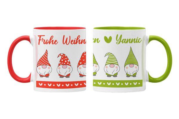 Tassen Twinset in rot und grün mit Name und Wichtel