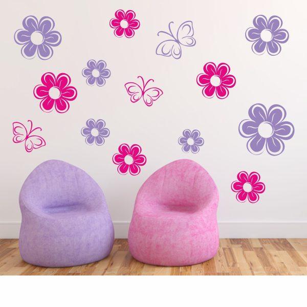 Wandtattoo Blumenzauber 2-farbig