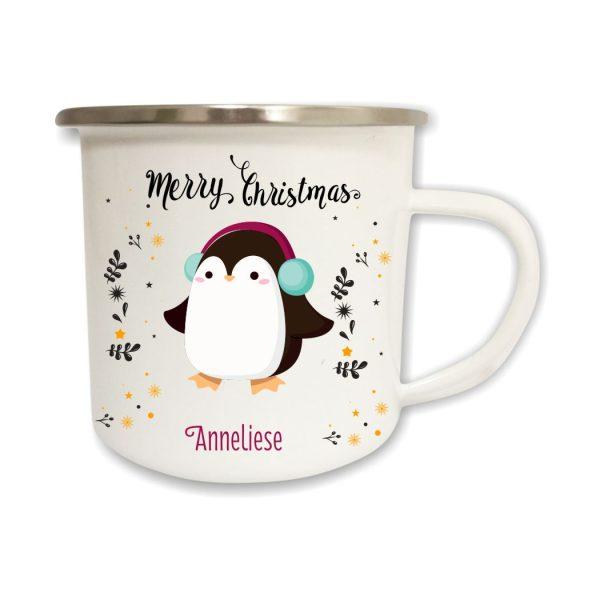 Emailletasse Weihnachten Pinguin mit Name