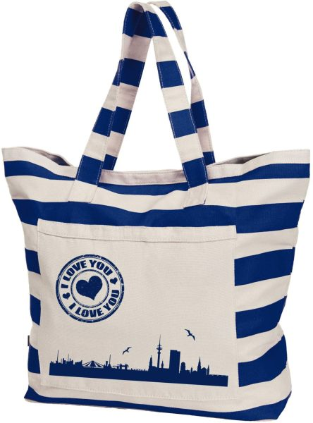 Streifen Shopper Baumwolle Beach Bag Maritim Skyline Hamburg