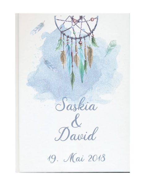 Personalisiertes Gästebuch für Ihre Hochzeit Traumfänger blau