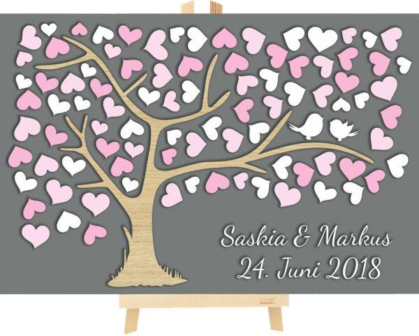 3D Baum aus Holz zur Hochzeit personalisiert mit Herzen
