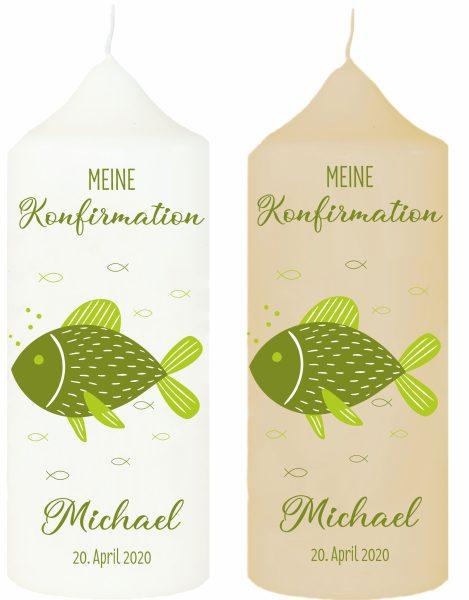 Kerze zur Kommunion Konfirmation Fisch grün mit Namen