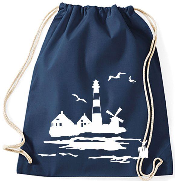 Turnbeutel aus Baumwolle in navy mit Leuchtturm