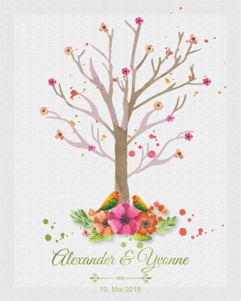 Hochzeitsleinwand Fingerabdruckbaum Wedding Tree Gästebuch Watercolor Aquarell - orange