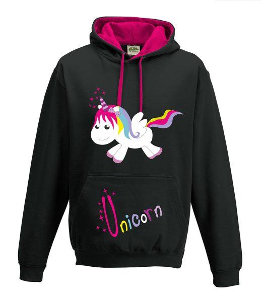 Kapuzenpullover Pullover Hoodie Einhorn Happy