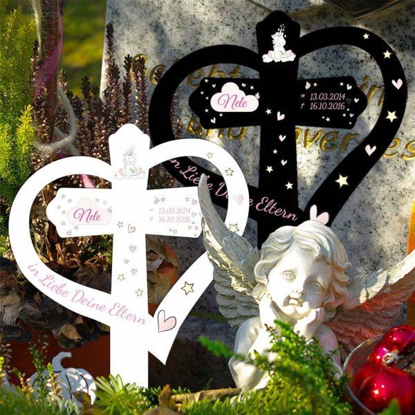 Grabkreuz mit Herz für Sternenkind Einhorn Cutie