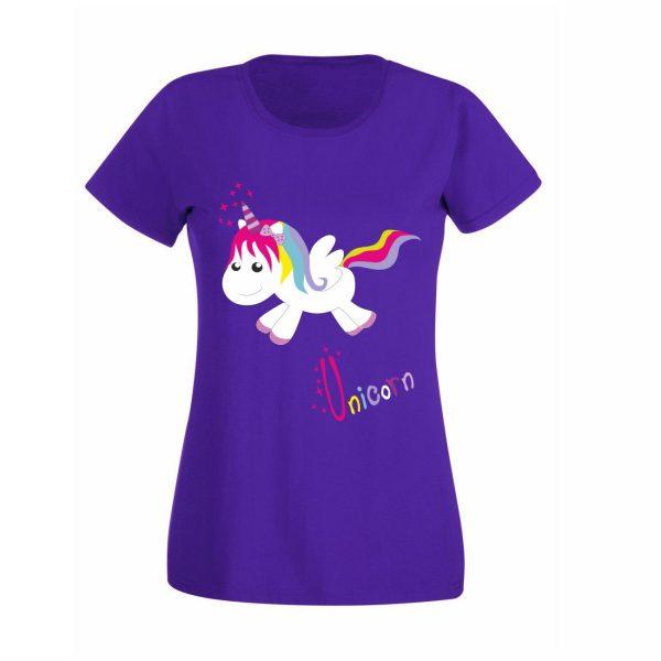 Damen T-Shirt Einhorn Happy