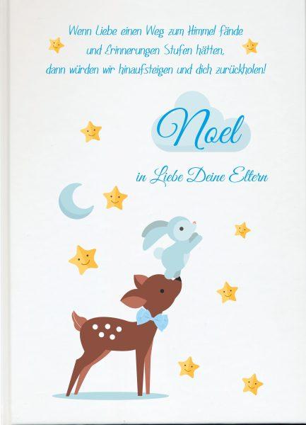 Fotoalbum Sternenkind Reh mit Hase in blau