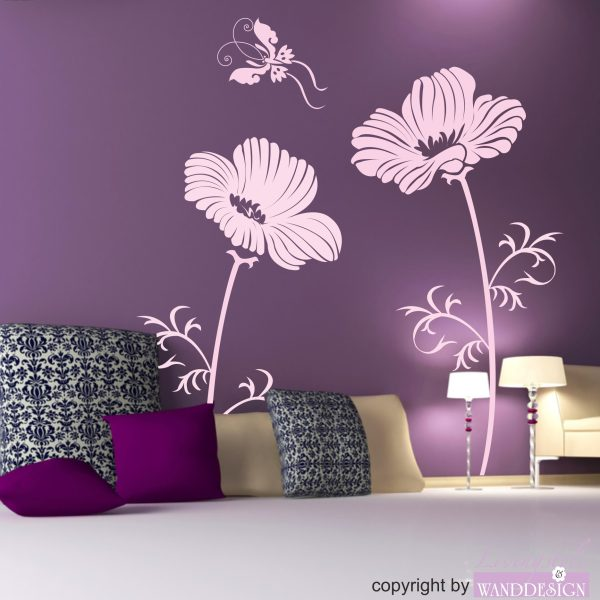 Wandtattoo 2 Blumen + Schmetterling