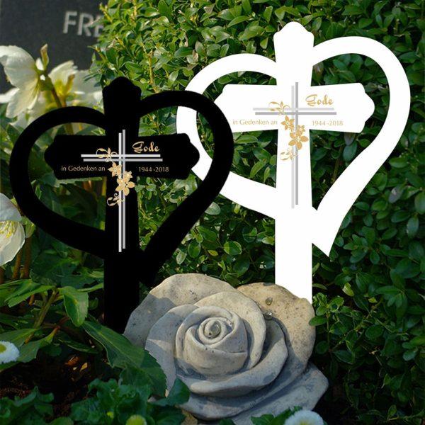 Grabkreuz mit Herz Kreuz mit Blumen