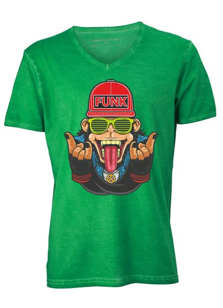 Herren Gipsy V-Neck T-Shirt Affe Funk