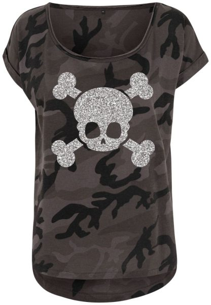 Damen Camouflage T-Shirt Glitzer Totenkopf