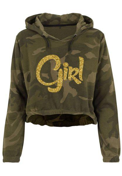 Damen Camouflage Cropped Hoodie Glitzer Girl