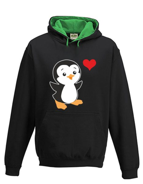 Kapuzenpullover Pullover Hoodie Pinguin Herz