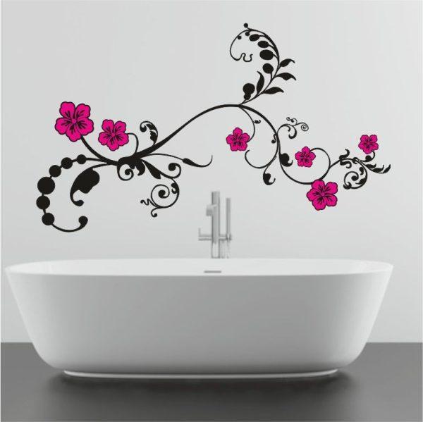 Wandtattoo Ranke Julia mit farbigen Blüten