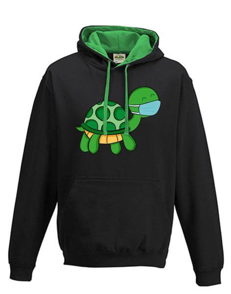 Kapuzenpullover Hoodie grün schwarz Schildkröte mit Mundschutz