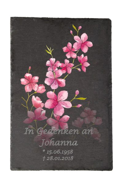 Gedenktafel Schieferplatte Kirschblüten