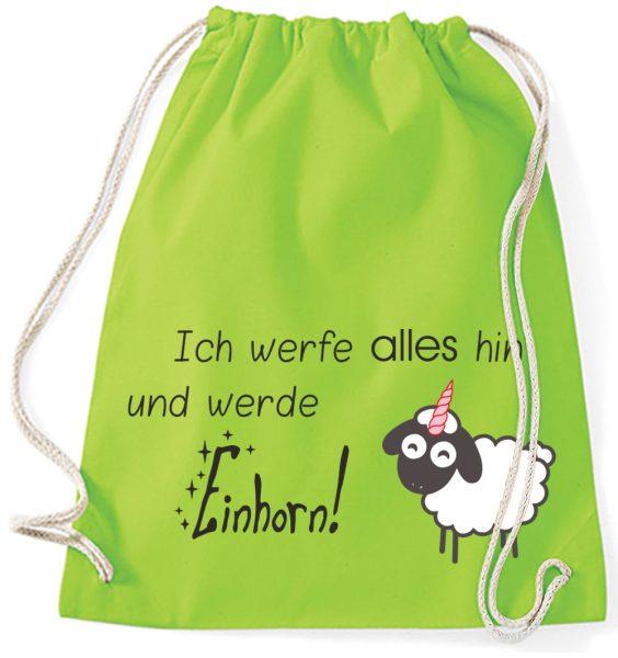 Jutebeutel Turnbeutel Sportbeutel Sheepcorn Ich werfe alles hin und werde Einhorn!