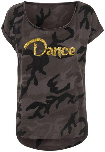 Damen Camouflage T-Shirt Glitzer Dance