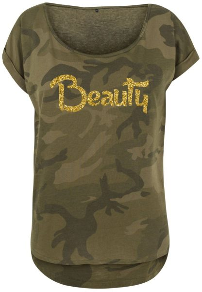 Damen Camouflage T-Shirt Glitzer Beauty