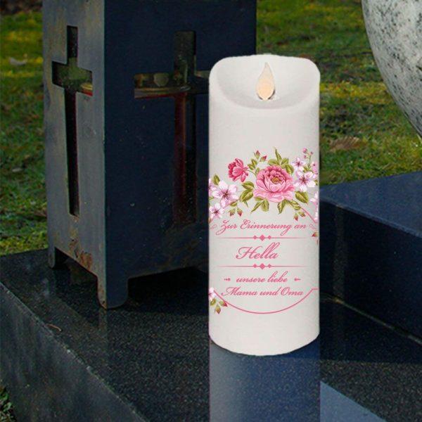 LED Kerze Twinkle Trauerkerze Blumenkranz