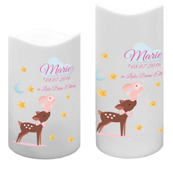 LED Kunststoff Kerze Weiß für Sternenkind Reh mit Hase in rosa