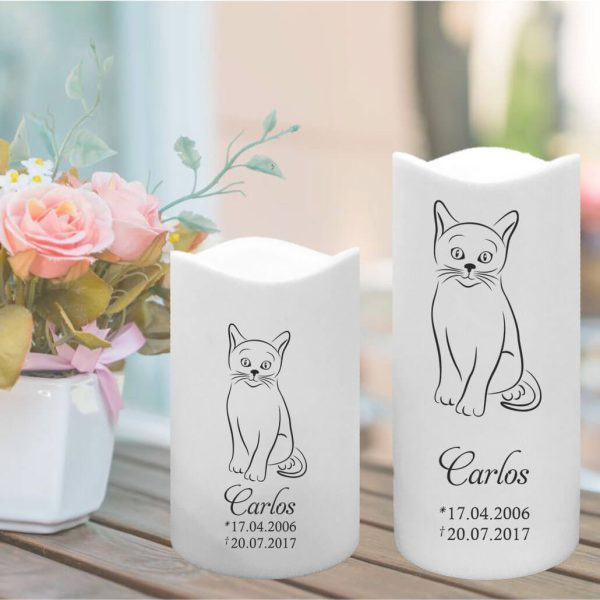 LED Kunststoff Kerze Weiß für Tiere Katze Silhouette