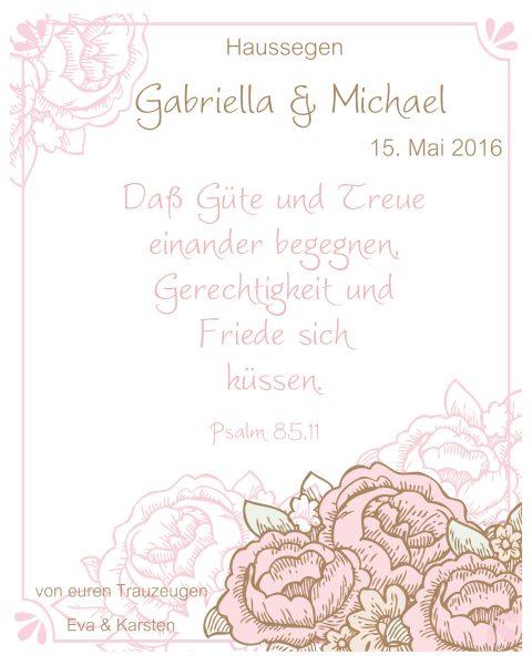 Haussegen zur Hochzeit Geschenk Leinwand 24 x 30 cm Motiv 8