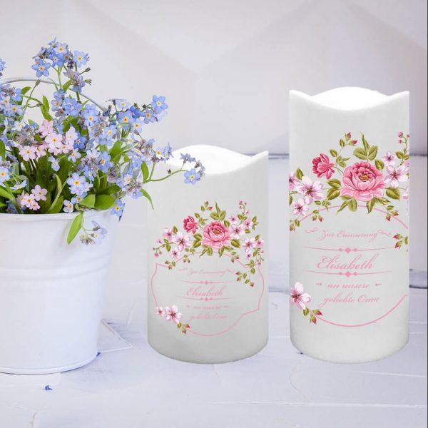 LED Kunststoff Kerze Weiß Trauerkerze Blumenkranz