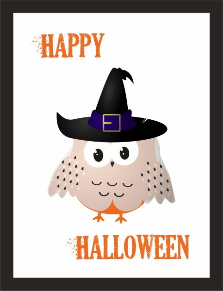 Kunstdruck Halloween Happy Eule Geist Gespenst