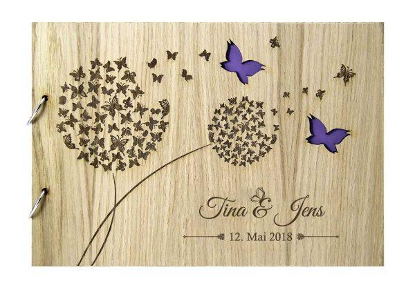 Rustikales Gästebuch aus Holz zur Hochzeit personalisiert Pusteblumen Schmetterlinge