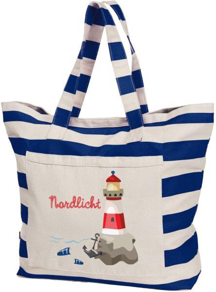 Streifen Shopper Baumwolle Beach Bag Maritim Leuchtturm bunt