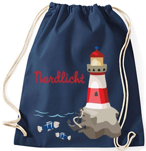 Turnbeutel aus Baumwolle in navy mit Nordlicht Leuchtturm