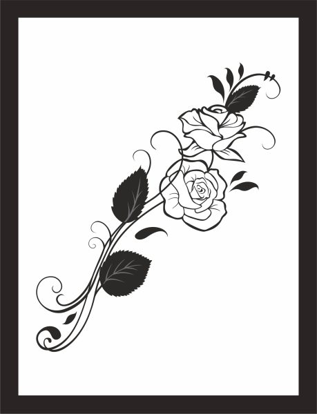 Kunstdruck Rosen schwarz