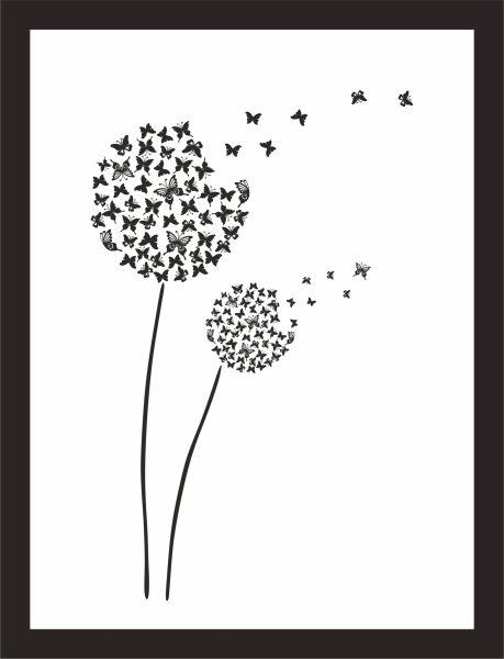 Kunstdruck Pusteblumen mit Schmetterlingen
