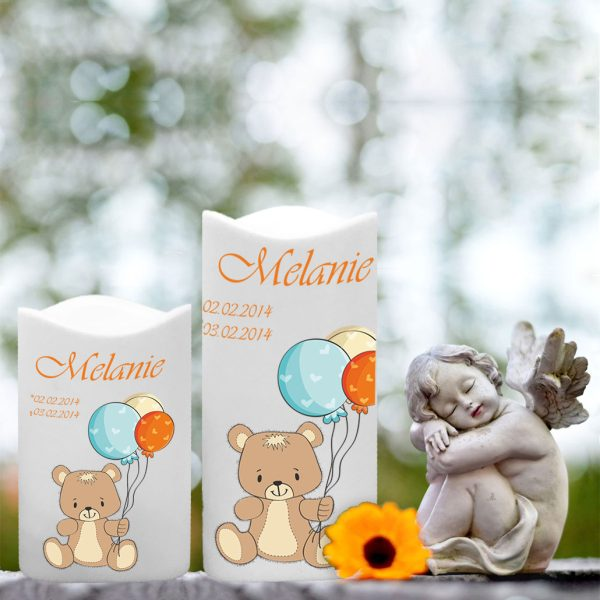 LED Kunststoff Kerze Weiß für Sternenkind Bär mit Ballons