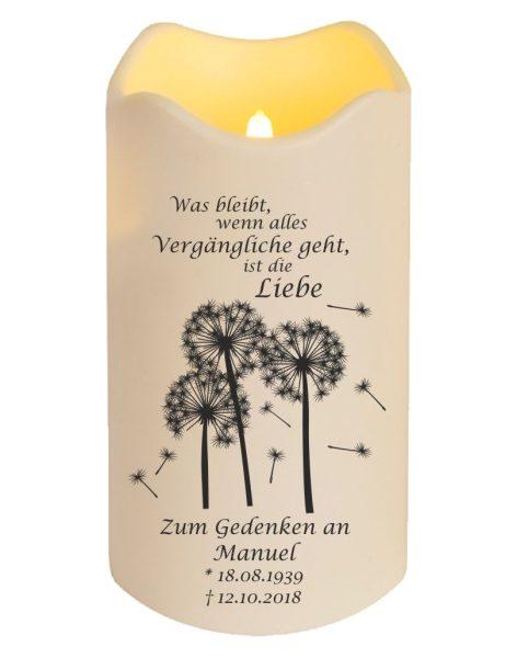 LED Kerze Trauerkerze aus Kunststoff Pusteblumen mit Spruch