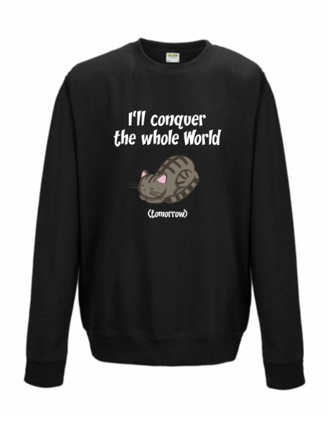 Sweatshirt Shirt Pullover Pulli Unisex Welt erobern Katze I'll conquer the whole World