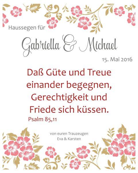 Haussegen zur Hochzeit Geschenk Leinwand 24 x 30 cm Motiv 1